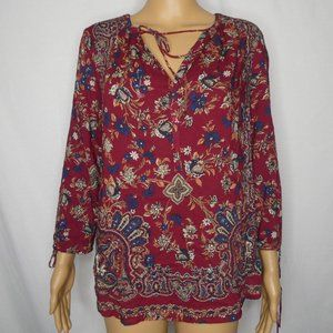 Lucky Brand Floral Paisley Peasant Blouse Ties Sm